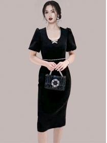 Modern OL Rhinestones Round Neck Slim Puff Sleeve Dress