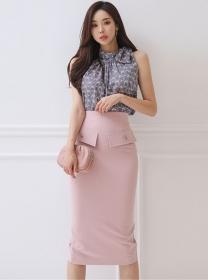 Grace Women Tie Collar Flowers Blouse with Midi Skirt