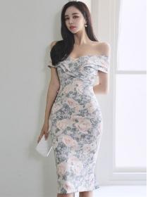 Elegant OL Boat Neck Flowers Bodycon Tank Dress