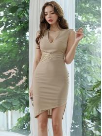 Retro Wholesale V-neck Lace Waist Slim Tank Dress