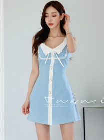 Lovely Wholesale Bowknot Doll Collar Tank A-line Dress