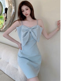 Hot Selling 2 Colors Bowknot Straps Bodycon Dress