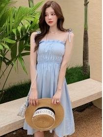 Wholesale Korea Tie Waist Straps A-line Dress