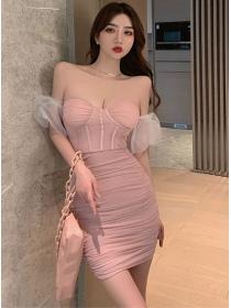 Sexy Korea Gauze Sleeve Pleated Strapless Club Dress