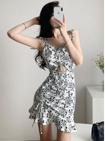 Pretty Summer Draw-string Hollow Out Flowers Straps Dress