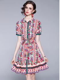 Pretty Summer Shirt Collar Tie Waist Loosen Flowers Dress
