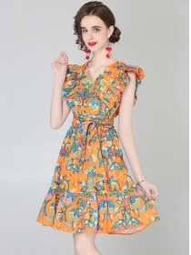 Europe Wholesale Flouncing V-neck Tie Waist Tank Dress