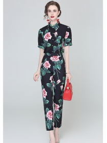 Vogue Lady 2 Colors High Waist Shirt Collar Long Suits