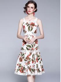 Pretty Summer High Waist Straps Flowers A-line Dress