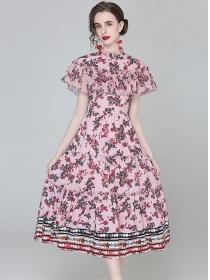 Charming Europe Flouncing Shoulder Flowers Slim Dress