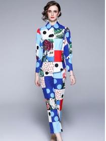 Classic Fashion Plaids Color Block Flowers Long Suits