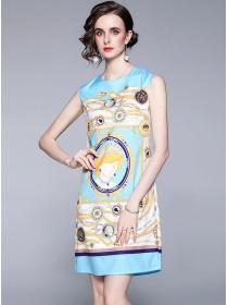 Summer Wholesale Round Neck Color Block Tank Dress