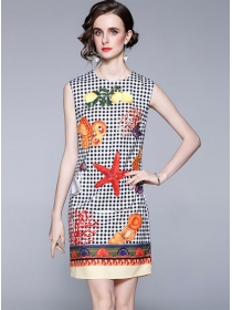 Wholesale Round Neck Plaids Starfish Tank A-line Dress