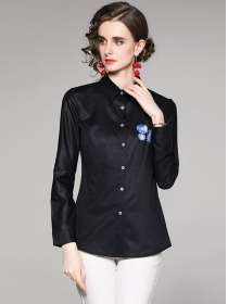 All Match Fashion Flowers Long Sleeve Blouse