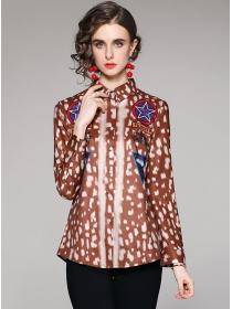 Europe Wholesale Shirt Collar Leopard Long Sleeve Blouse