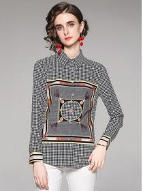Fashion Summer Houndstooth Doll Collar Loosen Blouse