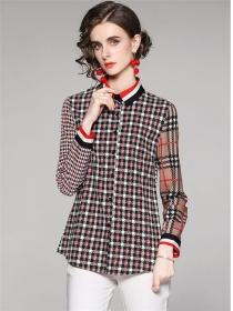 Classic Fashion Shirt Collar Plaids Loosen Blouse