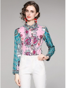 Pretty Fashion Shirt Collar Flowers Stripes Sleeve Blouse