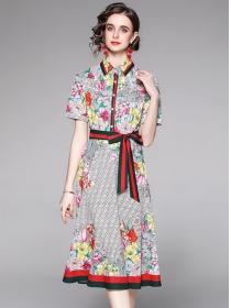 Summer Fashion Tie Waist Shirt Collar Flowers Long Dress