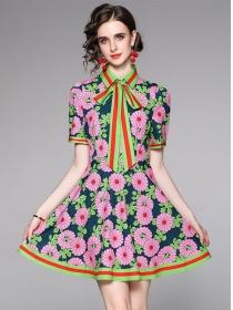 Charming Women Tie Collar Flower A-line Dress