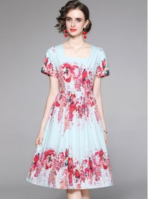 Pretty Summer Square Collar Flowers A-line Dress