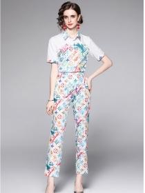 Brand Fashion Shirt Collar Flowers Slim Long Suits