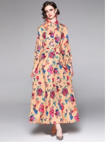 Europe Stylish High Waist Flowers Long Sleeve Maxi Dress