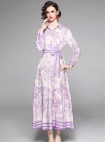 Wholesale Fashion Shirt Collar Flowers Long Dress