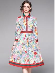 Grace Europe Shirt Collar Flowers Long Sleeve Dress