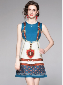 Europe Wholesale Round Neck Color Block Tank Dress
