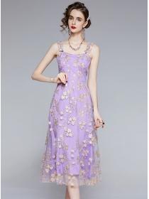 Grace Women Flowers Embroidery Gauze Straps Dress