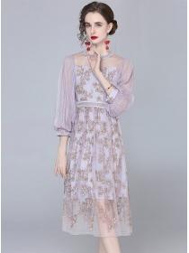 Retro Europe Gauze Puff Sleeve Flowers Embroidery Dress