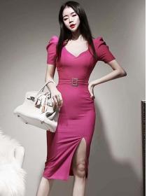 Fashion Women V-neck Puff Sleeve Split Slim Dress