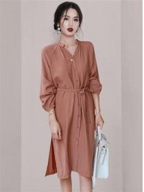 Retro Wholesale Single-breasted Loosen A-line Dress