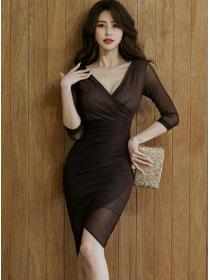Sexy Women V-neck Gauze Mid-sleeve Bodycon Dress