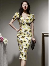 Charming Korea V-neck Puff Sleeve Flowers Skinny Dress