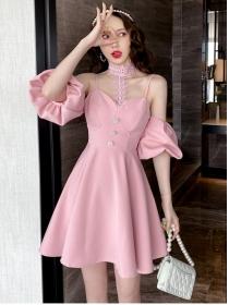 Lovely Wholesale Lace Halter Off Shoulder Puff Sleeve Dress