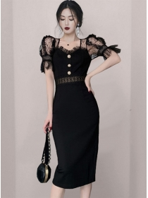 Summer Fashion Gauze Puff Sleeve Slim Women Dress