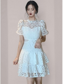 Modern OL Flare Sleeve Hollow Out Layered Dress