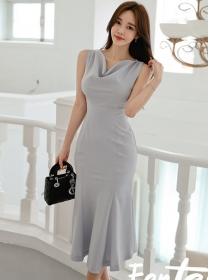 Wholesale Korea Heaps Collar Fishtail Slim Tank Dress