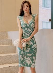 Summer Wholesale V-neck Flowers Skinny Tank Dress