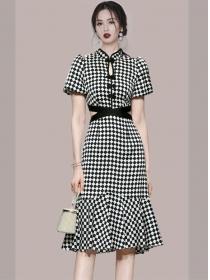 Modern New Waist Hollow Out Fishtail Plaids Dress