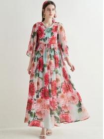 Bohemia Fashion Tie Collar Flowers Loosen Maxi Dress