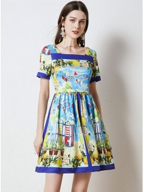Wholesale Summer Square Collar Flowers A-line Dress