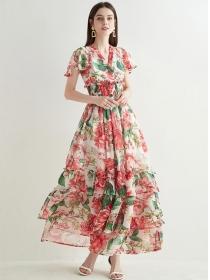 Pretty Women Elastic Waist Flowers Flouncing Maxi Dress