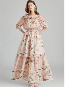 Quality Fashion Boat Neck Elastic Waist Flowers Maxi Dress