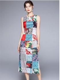 Wholesale Europe Plaids Flowers Split Slim Tank Long Dress