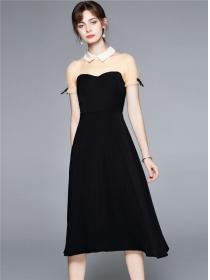 Retro Wholesale Gauze Shirt Collar Splicing A-line Dress