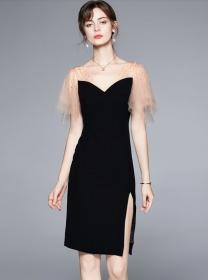 Summer Fashion Gauze Sleeve V-neck Skinny Dress