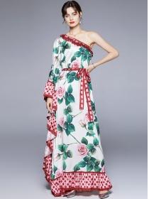 Charming Bohemia Off Shoulder Tie Waist Flowers Maxi Dress